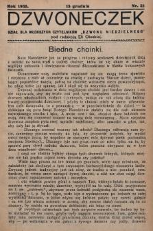 """Dzwoneczek : dział dla młodszych czytelników """"Dzwonu Niedzielnego"""". 1935, nr51"""