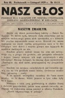 Nasz Głos : pisemko dla parafjan Św. Krzyża i przyjaciół Zakładu Salezjańskiego w Kielcach. 1929/1930, nr10-11