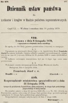 Dziennik Ustaw Państwa dla Królestw i Krajów w Radzie Państwa Reprezentowanych. 1879, cz. 51