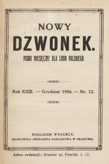 Nowy Dzwonek : pismo miesięczne dla ludu polskiego. 1916, nr 12
