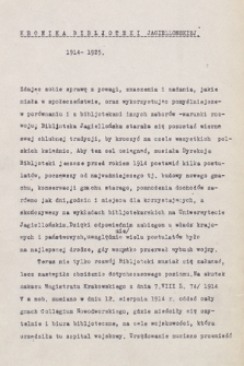 """""""Kronika Biblioteki Jagiellońskiej za lata 1811-1925"""". T. 4, """"Kronika Biblioteki Jagiellońskiej z lat 1914-1925"""""""