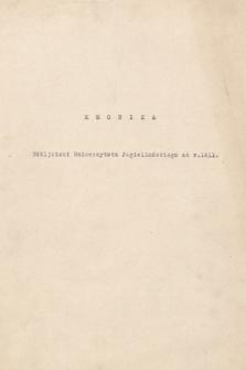 """""""Kronika Biblioteki Jagiellońskiej za lata 1811-1925"""". T. 2, """"Kronika Biblioteki Uniwersytetu Jagiellońskiego od r. 1811"""" [doprowadzona do 1904 r.]"""