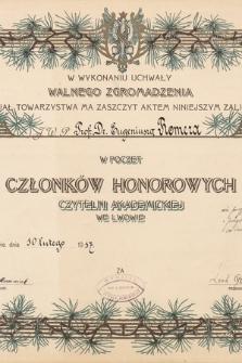 Dyplomy i zawiadomienia o nadanych godnościach Eugeniuszowi Romerowi przez zagraniczne towarzystwa i instytucje w latach 1909-1949