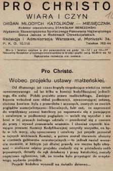 Pro Christo : wiara i czyn : organ młodych katolików. 1932, nr1