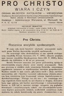 Pro Christo : wiara i czyn : organ młodych katolików. 1932, nr5