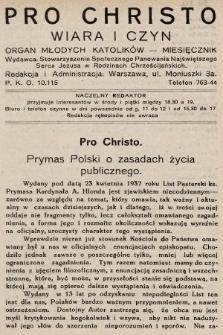 Pro Christo : wiara i czyn : organ młodych katolików. 1932, nr6