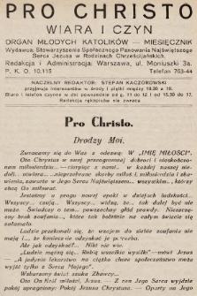Pro Christo : wiara i czyn : organ młodych katolików. 1933, nr7