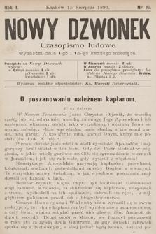 Nowy Dzwonek : czasopismo ludowe. 1893, nr16