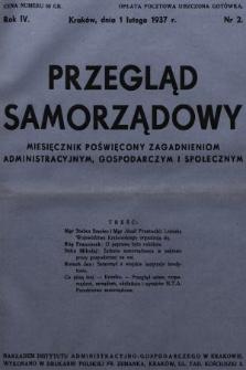 Przegląd Samorządowy : miesięcznik poświęcony zagadnieniom administracyjnym, gospodarczym i społecznym. 1937, nr2