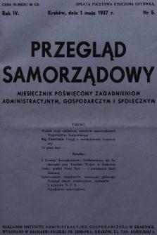 Przegląd Samorządowy : miesięcznik poświęcony zagadnieniom administracyjnym, gospodarczym i społecznym. 1937, nr5