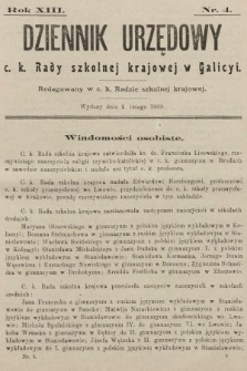 Dziennik Urzędowy c. k. Rady szkolnej krajowej w Galicyi. 1909, nr4