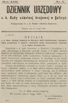 Dziennik Urzędowy c. k. Rady szkolnej krajowej w Galicyi. 1909, nr5