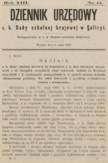 Dziennik Urzędowy c. k. Rady szkolnej krajowej w Galicyi. 1909, nr13