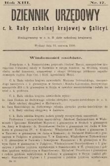 Dziennik Urzędowy c. k. Rady szkolnej krajowej w Galicyi. 1909, nr17