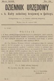 Dziennik Urzędowy c. k. Rady szkolnej krajowej w Galicyi. 1909, nr18