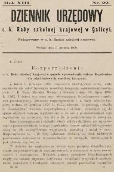 Dziennik Urzędowy c. k. Rady szkolnej krajowej w Galicyi. 1909, nr22