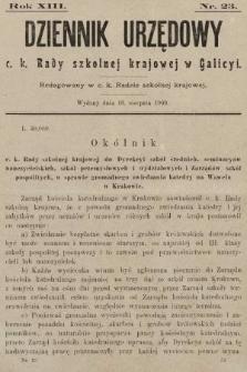 Dziennik Urzędowy c. k. Rady szkolnej krajowej w Galicyi. 1909, nr23