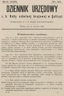 Dziennik Urzędowy c. k. Rady szkolnej krajowej w Galicyi. 1909, nr28