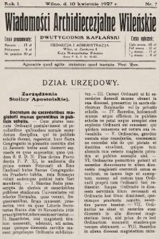 Wiadomości Archidiecezjalne Wileńskie : dwutygodnik kapłański. 1927, nr7