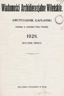 Wiadomości Archidiecezjalne Wileńskie : dwutygodnik kapłański. 1928, spis rzeczy