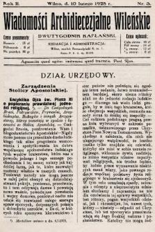 Wiadomości Archidiecezjalne Wileńskie : dwutygodnik kapłański. 1928, nr3
