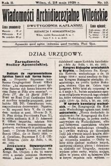 Wiadomości Archidiecezjalne Wileńskie : dwutygodnik kapłański. 1928, nr10