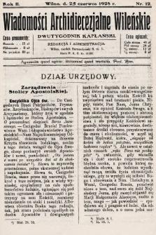 Wiadomości Archidiecezjalne Wileńskie : dwutygodnik kapłański. 1928, nr12