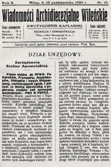 Wiadomości Archidiecezjalne Wileńskie : dwutygodnik kapłański. 1928, nr19