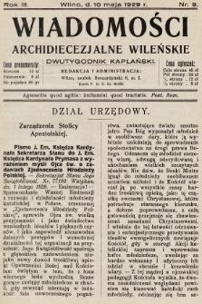 Wiadomości Archidiecezjalne Wileńskie : dwutygodnik kapłański. 1929, nr9