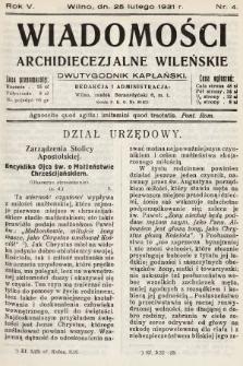 Wiadomości Archidiecezjalne Wileńskie : dwutygodnik kapłański. 1931, nr4