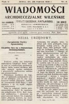 Wiadomości Archidiecezjalne Wileńskie : dwutygodnik kapłański. 1931, nr6