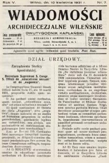 Wiadomości Archidiecezjalne Wileńskie : dwutygodnik kapłański. 1931, nr7