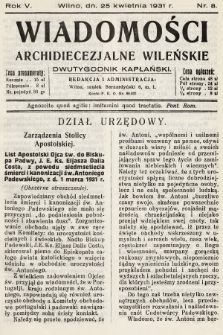 Wiadomości Archidiecezjalne Wileńskie : dwutygodnik kapłański. 1931, nr8