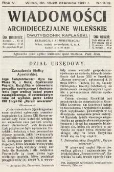 Wiadomości Archidiecezjalne Wileńskie : dwutygodnik kapłański. 1931, nr11-12