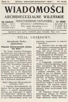 Wiadomości Archidiecezjalne Wileńskie : dwutygodnik kapłański. 1931, nr15-18