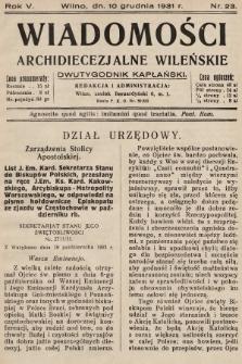 Wiadomości Archidiecezjalne Wileńskie : dwutygodnik kapłański. 1931, nr23