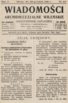 Wiadomości Archidiecezjalne Wileńskie : dwutygodnik kapłański. 1931, nr24