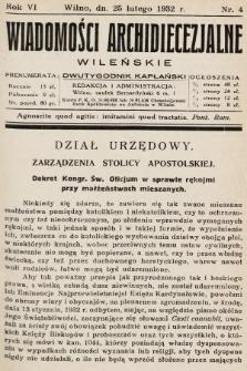 Wiadomości Archidiecezjalne Wileńskie : dwutygodnik kapłański. 1932, nr4