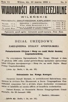 Wiadomości Archidiecezjalne Wileńskie : dwutygodnik kapłański. 1932, nr5