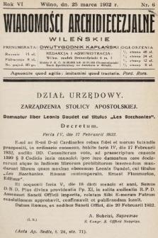 Wiadomości Archidiecezjalne Wileńskie : dwutygodnik kapłański. 1932, nr6