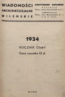Wiadomości Archidiecezjalne Wileńskie : dwutygodnik kapłański. 1934, spis rzeczy