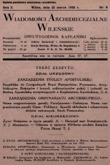Wiadomości Archidiecezjalne Wileńskie : dwutygodnik kapłański. 1936, nr6