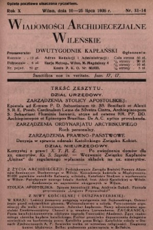 Wiadomości Archidiecezjalne Wileńskie : dwutygodnik kapłański. 1936, nr13-14