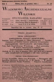 Wiadomości Archidiecezjalne Wileńskie : dwutygodnik kapłański. 1936, nr23