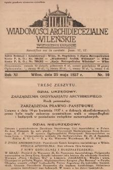 Wiadomości Archidiecezjalne Wileńskie : dwutygodnik kapłański. 1937, nr10