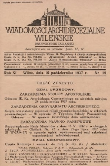 Wiadomości Archidiecezjalne Wileńskie : dwutygodnik kapłański. 1937, nr19