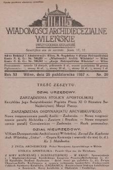 Wiadomości Archidiecezjalne Wileńskie : dwutygodnik kapłański. 1937, nr20