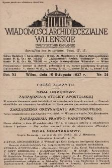 Wiadomości Archidiecezjalne Wileńskie : dwutygodnik kapłański. 1937, nr21
