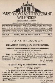 Wiadomości Archidiecezjalne Wileńskie : dwutygodnik kapłański. 1938, nr6