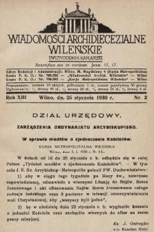 Wiadomości Archidiecezjalne Wileńskie : dwutygodnik kapłański. 1939, nr2